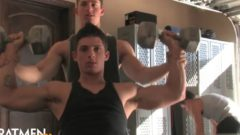 Muscle Boy Naked at the Gym