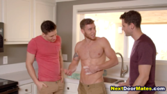 Hot jocks seduce straight plumber into gay threesome sex