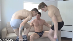 ALL HOT GUYS! ATTRACTIVE THREE WAY WITH SOME OF GAY PORN'S HOTTEST DUDES.